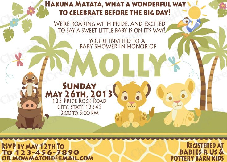 20 best images about lion king invites on pinterest   disney lion, Baby shower invitations
