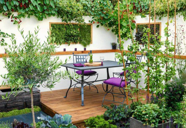 modern balcony with herbs painting on the wall, strawberries in concrete pot and  vegetables garden