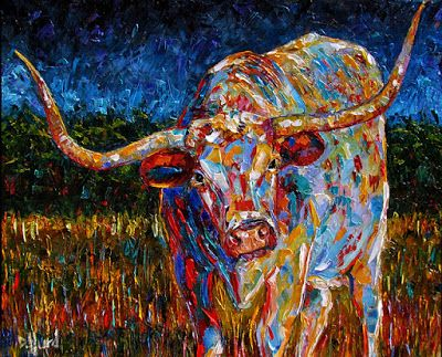 "Daily Painters Abstract Gallery: Longhorn Painting Cattle Art Texas Longhorn Paintings ""Before The Storm"" by Debra Hurd"