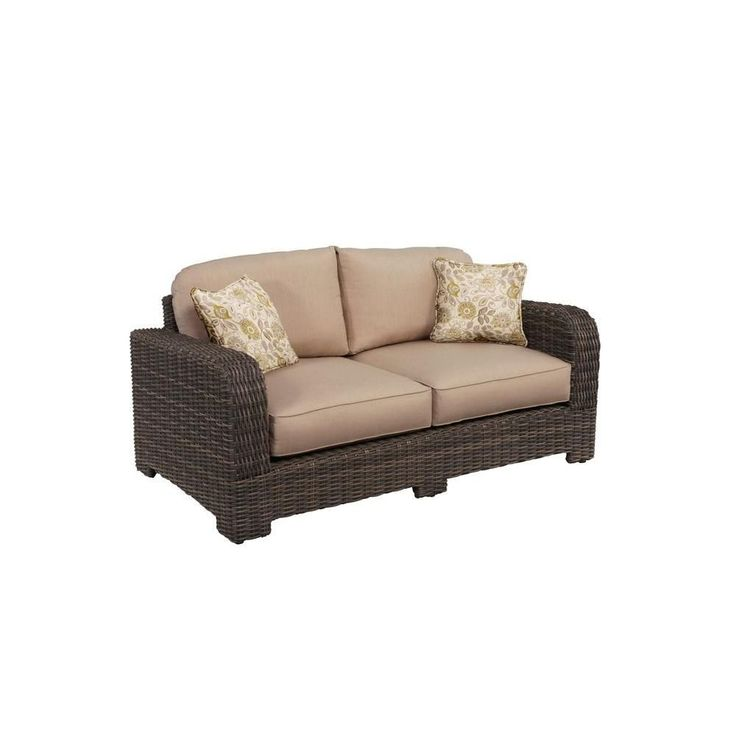 Brown Jordan Northshore Patio Loveseat With Sparrow Cushions And Aphrodite  Spring Throw Pillows    Custom