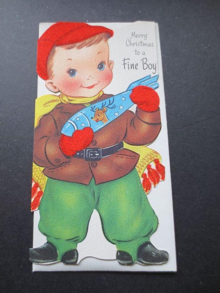 Vintage Unused Gibson Die Cut Xmas Greeting Card Boy with Rocket & Flocked Hat