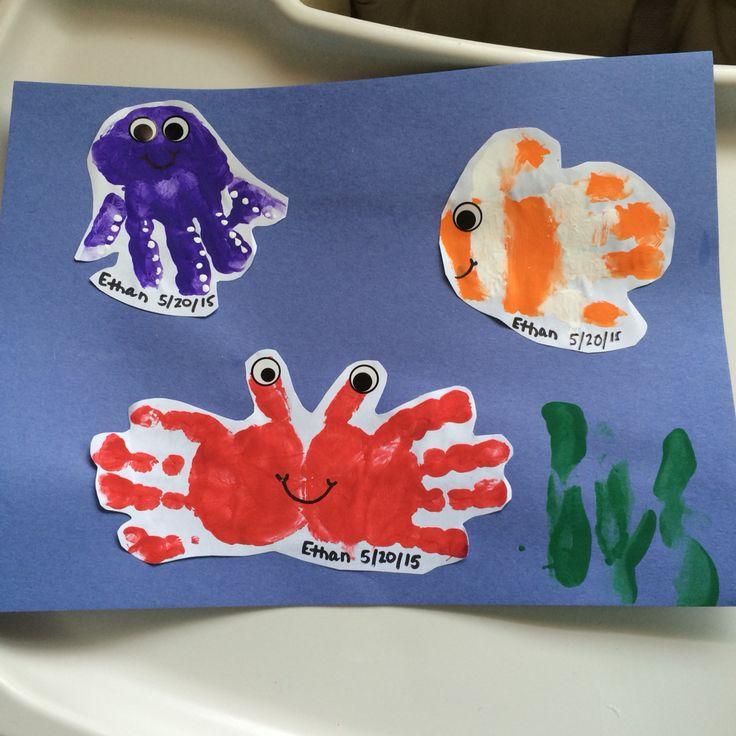 Daycare Children Handprint Animals Sea Animals Crab Fish