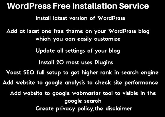 Wordpress Free Installation Service