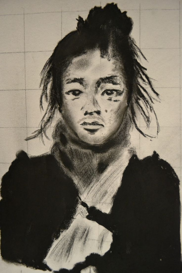 Japanese Samurai .. charcoal .. my version from an old photo..