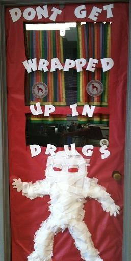 Red Ribbon Week classroom door decorations.