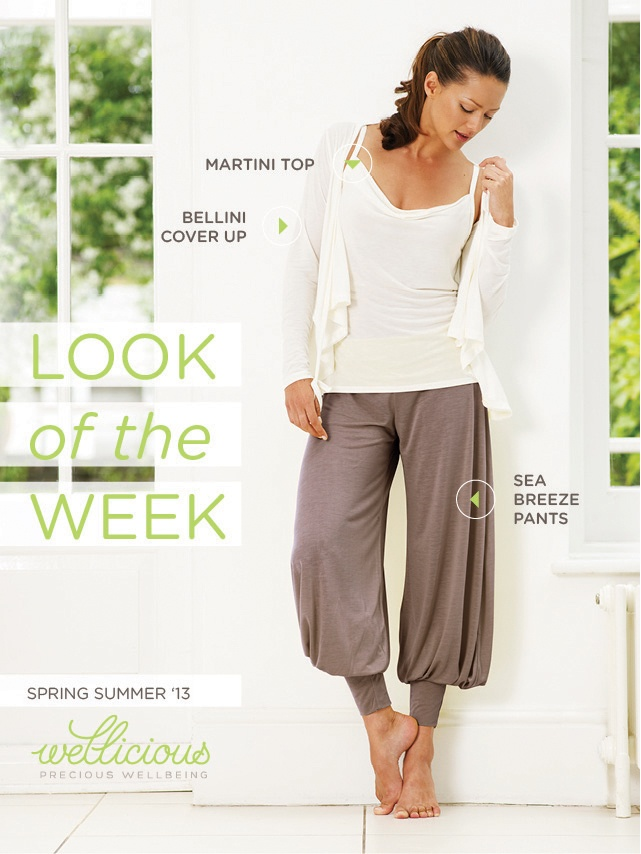Check out the Wellicious look of the week! This look combines comfort, style and femininity.  Bellini Cover Up > http://www.wellicious.com/wellicious-bellini-cover-up.html Martini Top > http://www.wellicious.com/wellicious-martini-top.html Sea Breeze Pants > http://www.wellicious.com/wellicious-sea-breeze-pants.html