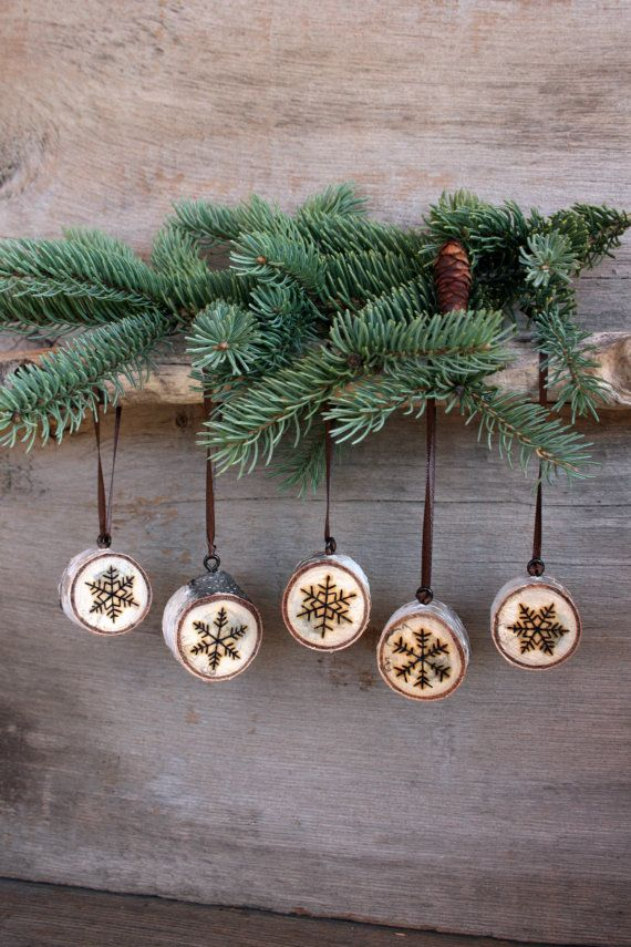 Snowflake Ornaments - Set of 5 - Wood burning on Birch