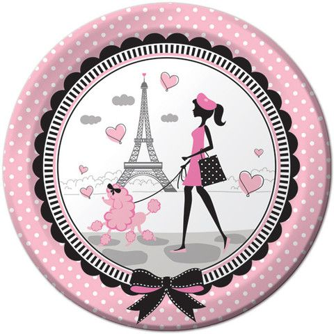 Party In Paris Paper Plates, 9'' | 8 ct