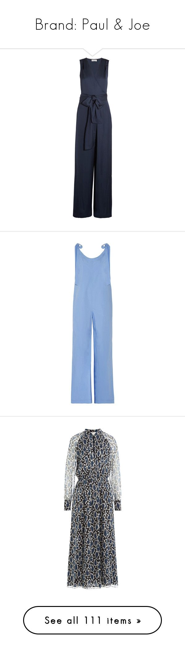 """""""Brand: Paul & Joe"""" by ahmady ❤ liked on Polyvore featuring jumpsuits, navy, navy wide leg jumpsuit, satin jumpsuit, navy jumpsuit, wrap jumpsuits, jump suit, blue, blue jumpsuit and blue jump suit"""