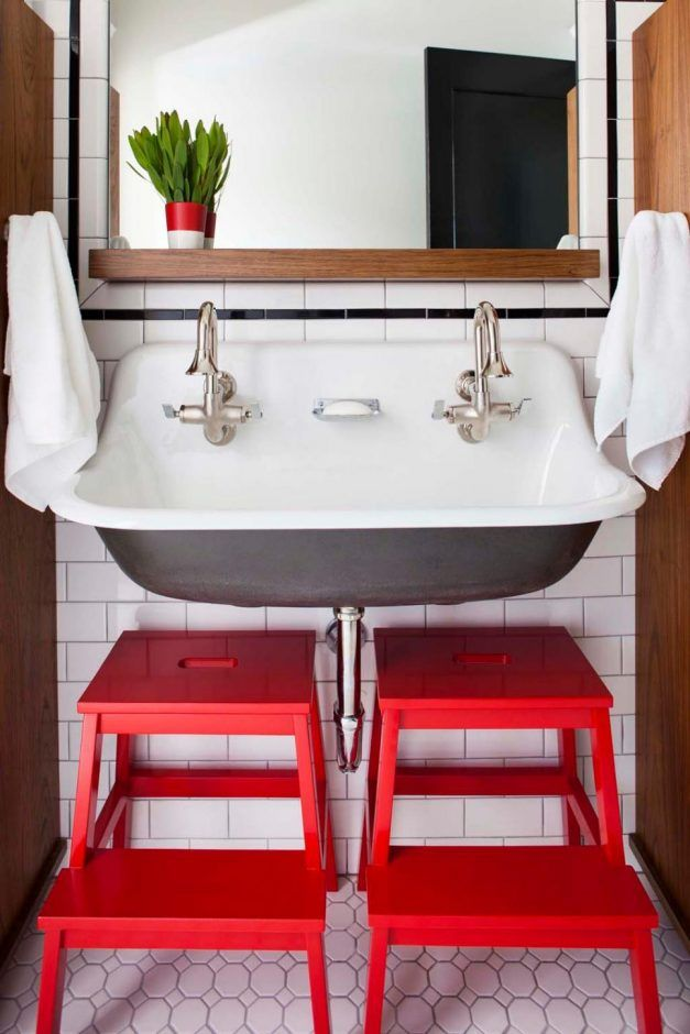 Bathroom: Add Just A Spot. bathroom color. red step stool. honeycomb tile floor. white wall tile. wall mount sink. chrome finished faucet. wooden mirror shelf. red and white pot.