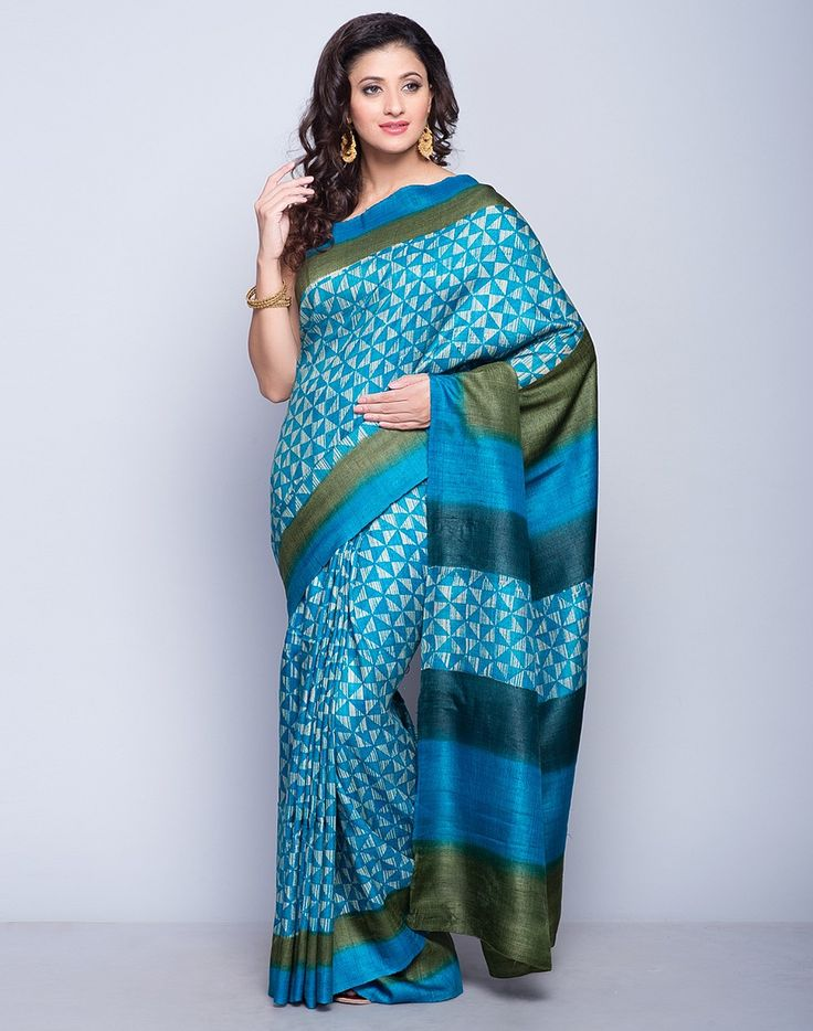 Silk Tussar Printed Stroke Sari-Turquoise: Buy Fabindia Silk Tussar Printed Stroke Sari-Turquoise Online. Worldwide free shipping* – Fabindia.com
