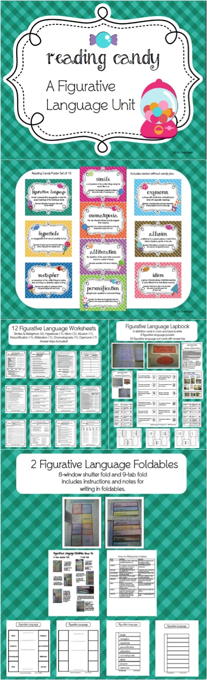 Foldables, Worksheets, Lapbook, Posters, Sort Cards, Bookmarks, Definition Cards, and Notes!   Teach 9 types of figurative language: simile, metaphor, hyperbole, onomatopoeia, alliteration, allusion, idiom, personification, and oxymoron.  This complete unit includes 2 foldables for interactive notebooking, 12 worksheets with answer keys, a lapbook project including definition cards, figurative language pockets, and 36 sort cards, beautiful full-color posters, bookmarks, and teacher's notes.