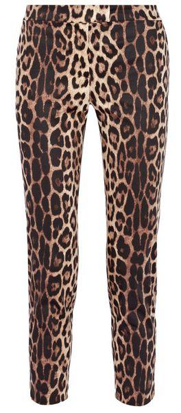 Pantalon raccourci en coton stretch imprimé léopard Moschino Cheap and Chic