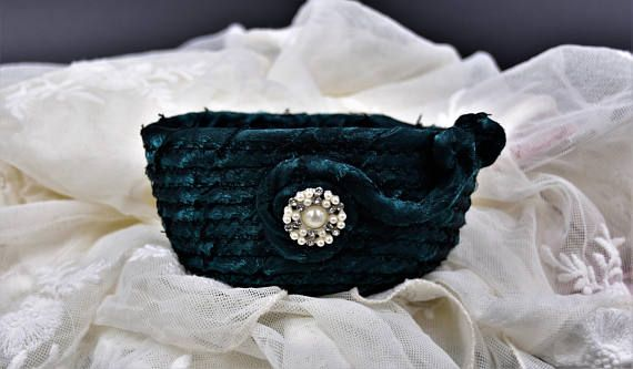 Teal Basket Christmas Gift for Her Brooch Basket Pearl