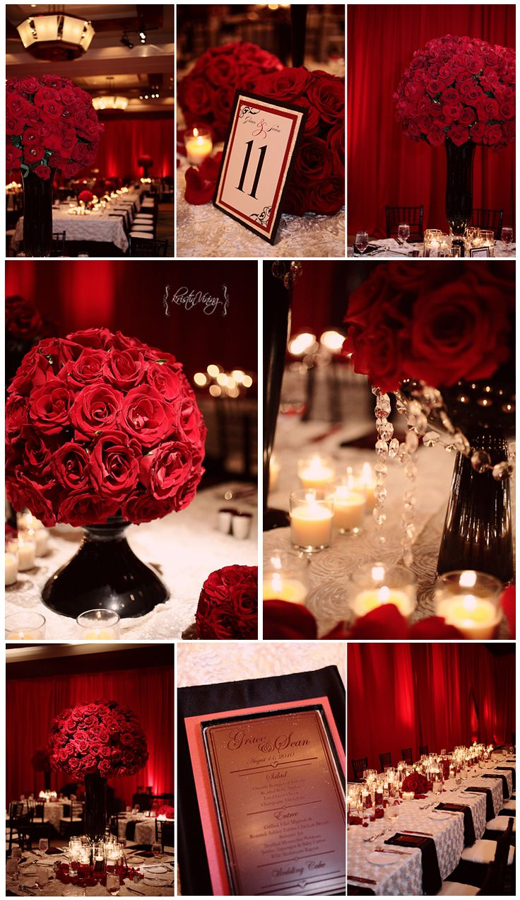 red black and white wedding reception, red roses, large center pieces, rosette