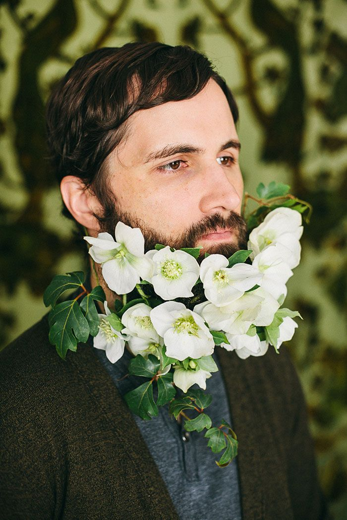 Men wearing flowers in the beard