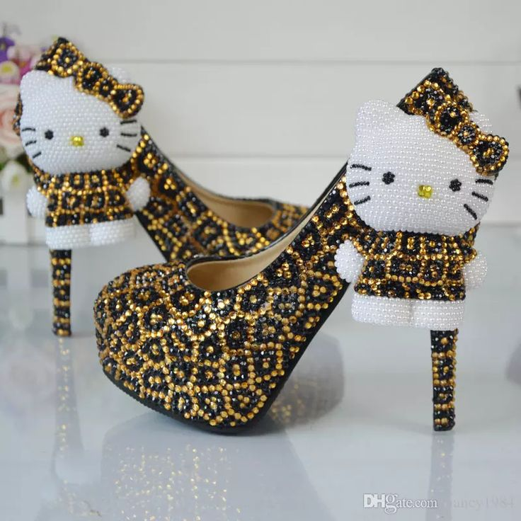 Leopard Gold And Black Rhinestone Wedding Shoes With Hello Kitty Bridal Dress Shoes Platform Party Prom Shoes Plus Size 11 Bridal Shoes Online Champagne Wedding Shoes From Nancy1984, $67.14  Dhgate.Com