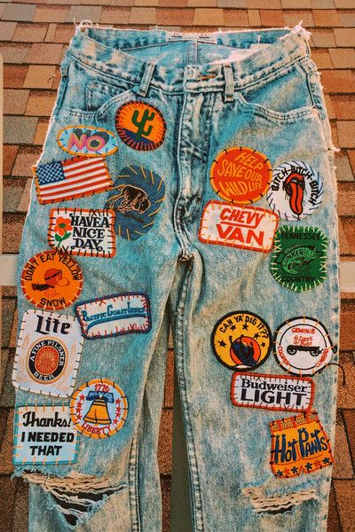 Drink A Beer For Wildlife! Vintage Patched High Waisted Skinny Jeans