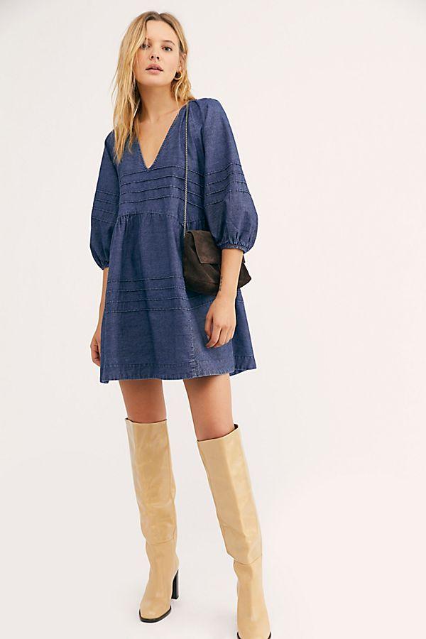 Pin By Free People On Stiletto Boots In 2020 Denim Mini Dress Denim Dress Outfit Mini Dress