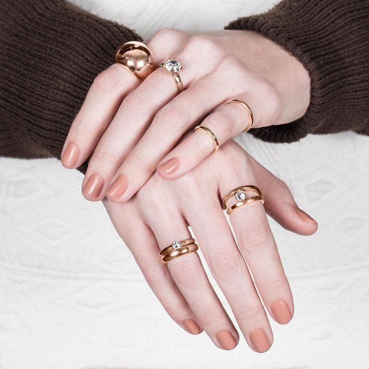 #migliostyle #Rose #Allure stacked #rings - www.miglio.com