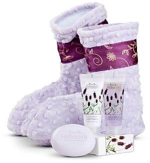 Spa Booties with Lavender Aromatherapy Set - A thoughtful gift for her! #spa #gifts