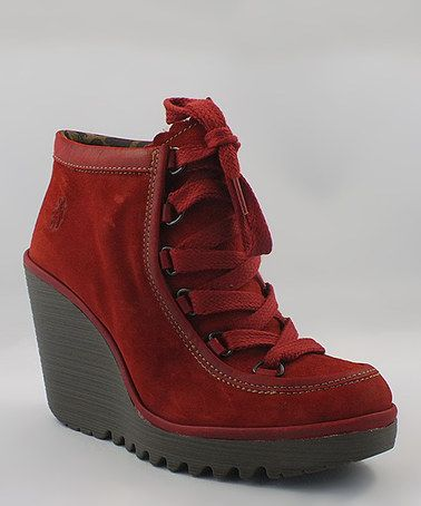 Look what I found on #zulily! Red Suede Cobb Bootie by FLY London #zulilyfinds
