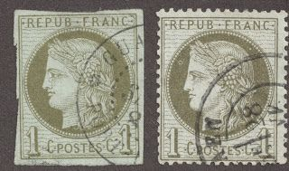"""1873 French Colony 1c olive green/pale blue """"Ceres"""" imperforated 1870 1c olive green/pale blue """"Ceres"""" perforated The above illustration shows the same denomination French Colony and French stamp. Can you tell the difference, other than the obvious imperforated/perforated dichotomy? Good luck with that. ;-) Actually, the Maury catalogue will often parse the stamps further, depending on (small) engraving differences."""