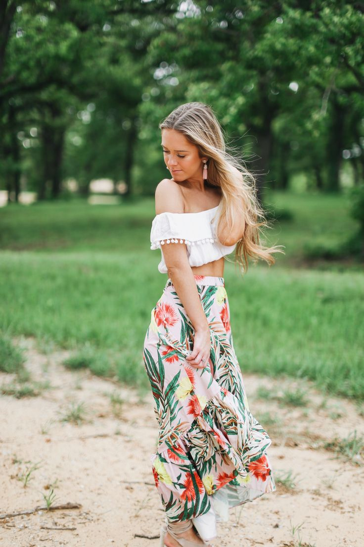 Tropical palm print midi skirt