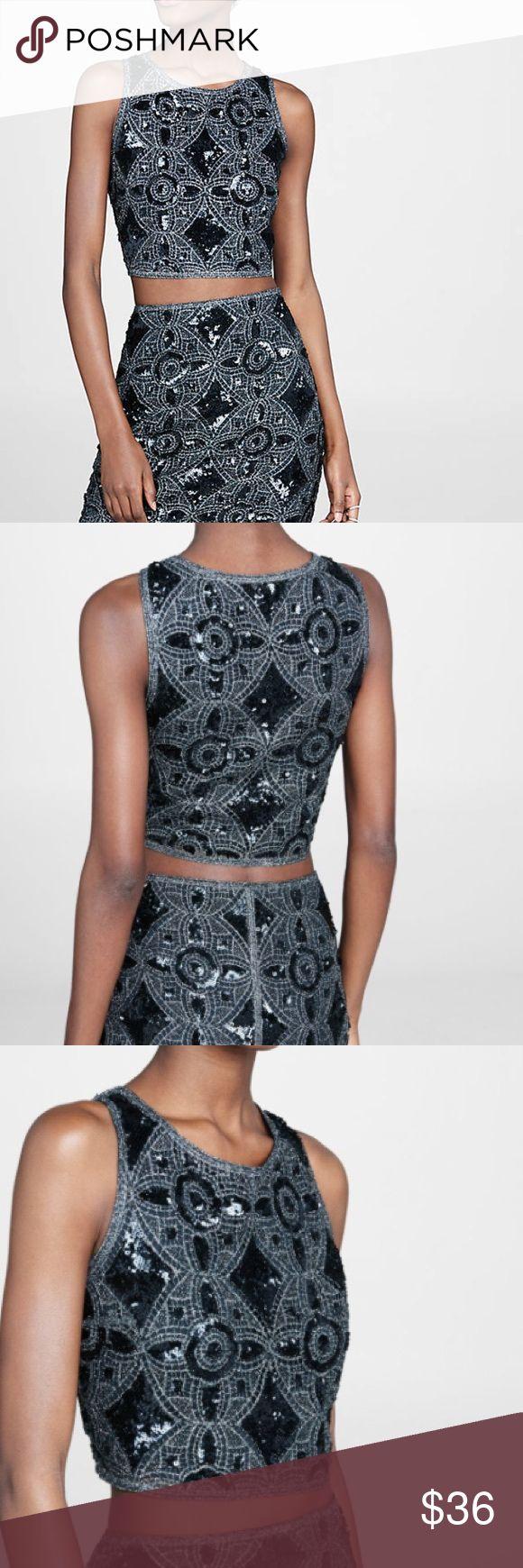 Express Crochet Metallic Crop Top Express  Crochet Metallic Crop Top  NWOT $79 Size M  Runs Slightly Small Express Tops Crop Tops