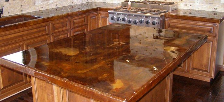 Concrete Countertop Stained Acid Stain Acid Stained