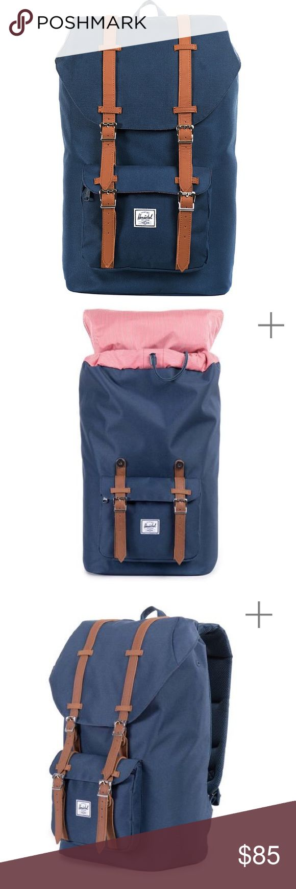 Herschel | navy blue Little America backpack Navy blue 'Little America' backpack with tan straps. Padded straps make it super comfortable. Perfect for travel, hiking, or commuting! It's a really versatile bag and has SO much space including a padded laptop sleeve which would keep it really  secure especially with its durable exterior. Only used once on a trip. Like new condition! Herschel Supply Company Bags Backpacks