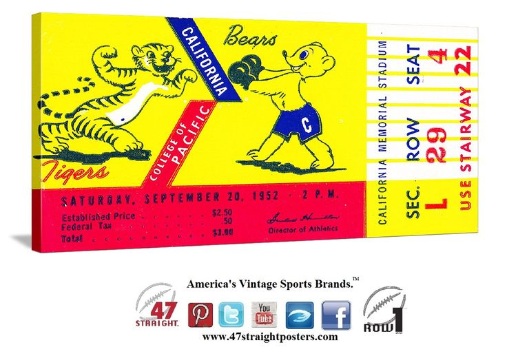 California Bears football tickets. 1952 Cal vs. Pacific. Canvas art made from an authentic '52 Cal football ticket. #47straight #row1brand #Cal #Bears #California #footballtickets Follow us on Twitter! https://twitter.com/47_Straight