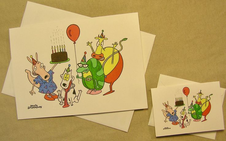 Rocko's Modern Life Cartoon Birthday Card. Regular size card and mini-version. A Lunar Eclipse cartoon birthday card. by ALunarEclipseCards on Etsy