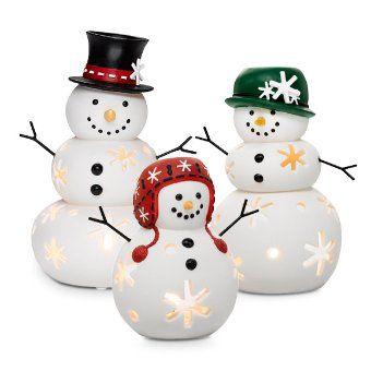 Snow family. Hand-painted. Follow at: www.partylite.biz/jenhardy www.facebook.com/partyhardyjen #jenhardyyourcandlelady