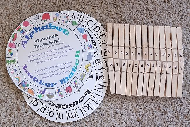 """TODDLER TIME ACTIVITY: LETTER MATCH = these printable templates are a variation on the number match activity, but one set is slightly more complex because the child has to identify the first letter of the picture (eg, """"A"""" is for Apple). Laminate the cards after printing, and write the corresponding letter on the clothespin."""
