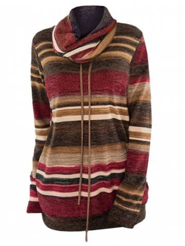 Plus Size Pullover Color Block Striped Sweatshirt