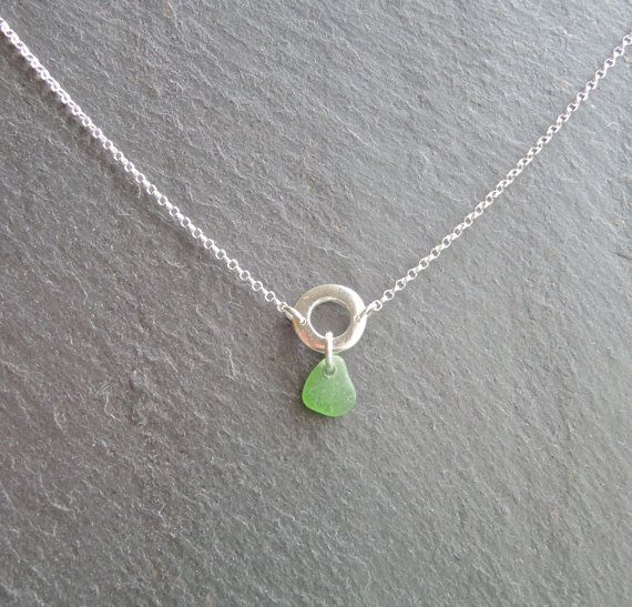 Silver necklace with beach glass/sea glass charm by MeltSilver
