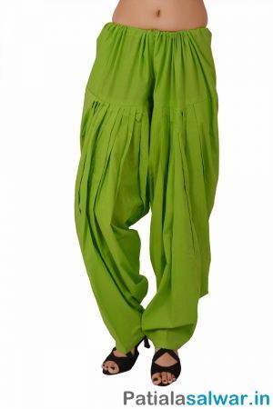 Plain Parrot Green Patiala Salwar