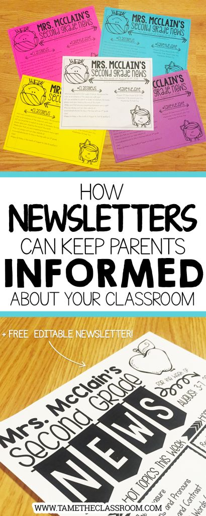 Teachers, you can send newsletters home each week to keep parents informed about important things happening in your classroom. Here are a few suggestions for what to include in your newsletters. | Tame the Classroom