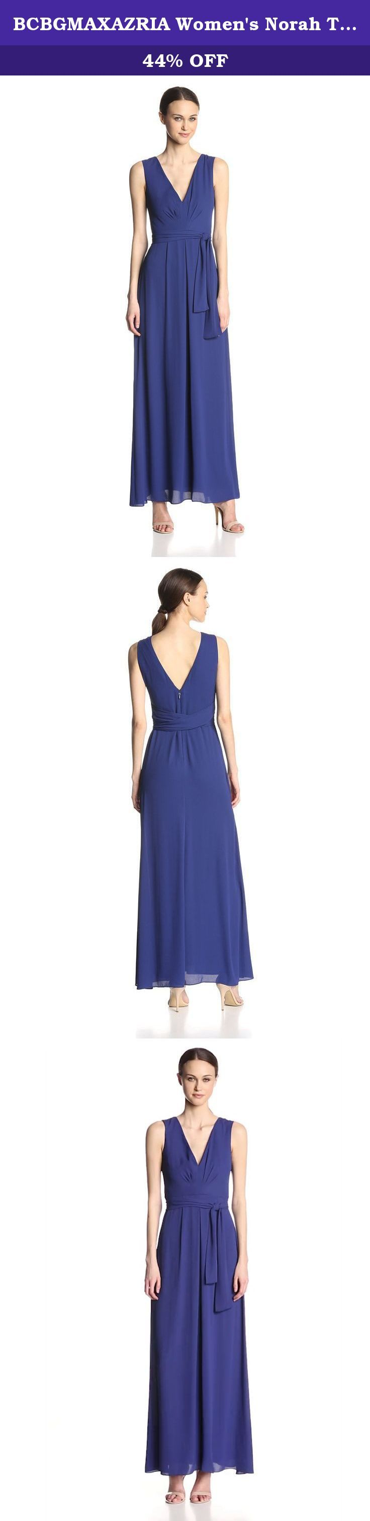 BCBGMAXAZRIA Women's Norah Tie Waist V-Neck Evening Gown, Orient Blue, 2. This sumptuous, floor-sweeping dress is an undeniably alluring silhouette with a figure-flattering tie-waist closure.