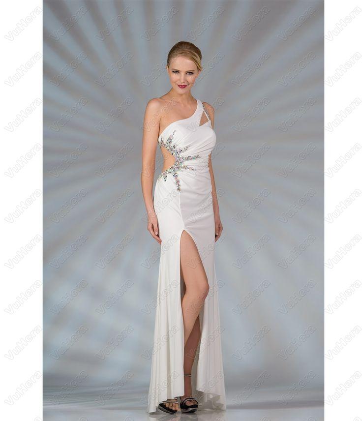 White One Shoulder Long Prom Dress