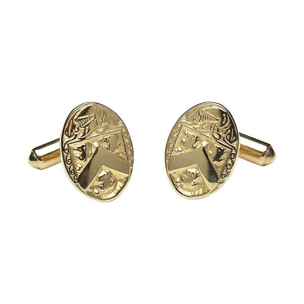 Oval Coat of Arms Medium Cuff Links - Celtic Cuff-Links - Rings from Ireland. Popular with genealogy buffs the oval coat of arms medium cuff links can be personalized with your own family crest to make it that more special.