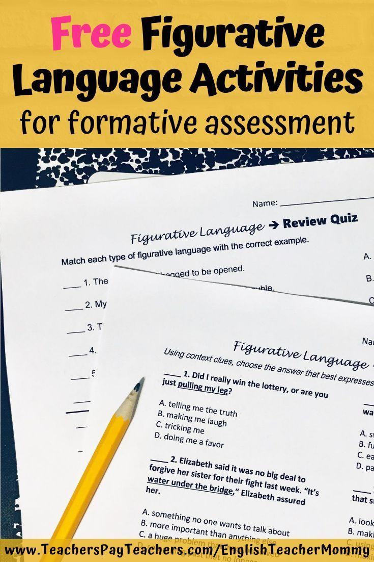Free Figurative Language Quizzes Figurative Language Figurative Language Activity Language Activities