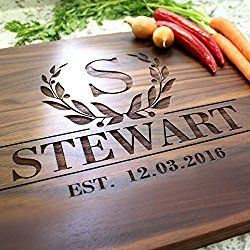 Bay Laurel Garland Design Personalized Cutting Board - Engraved Cutting Board, Custom Cutting Board, Wedding Gift, Housewarming Gift, Anniversary Gift, Engagement W-011GB