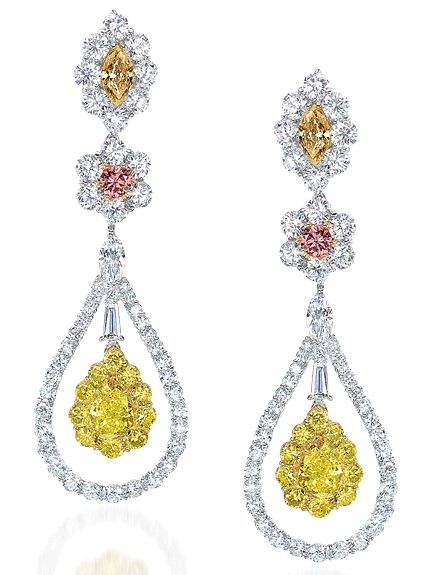 Coloured Diamond Drop Earrings