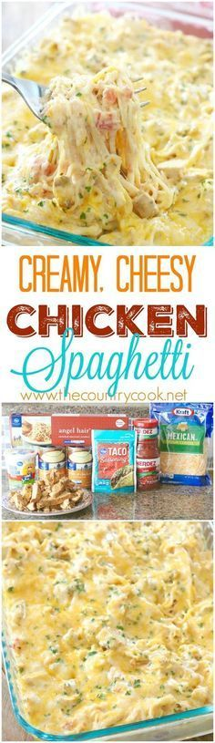 Creamy Chicken Spaghetti recipe from The Country Cook. The *BEST* Chicken spaghetti I have ever made. There is no other recipe like this one on the internet! It's an original that is a new family favorite!