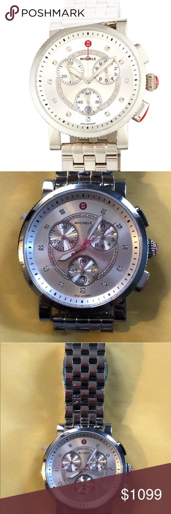 Michele .13 cttw Diamond 42mm Sport Vela Relógio   – Smoothie's Fashion Corner