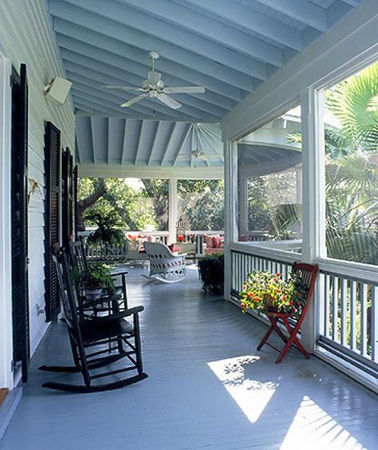 Front Porch Ceiling Ideas: Mud Pie Studio: Haint Blue Painted Porch Ceilings