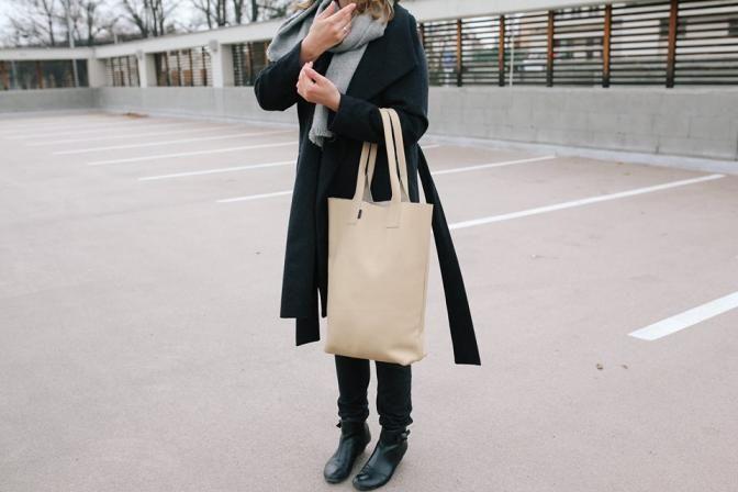 veliká kožená kabelka Pointa no.3  oversized leather bag
