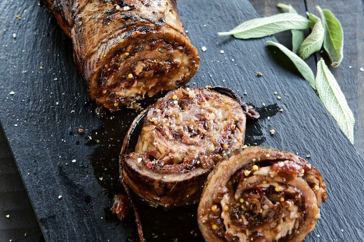 Onion Marmalade, Gruyere and Sage Stuffed Flank Roll - Make delicious beef recipes easy, for any occasion